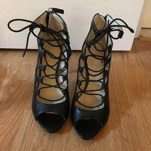 Zara High Heel Leather Ankle Lace-Up Boot